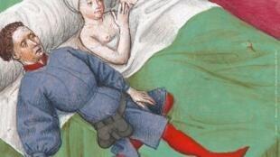 """Detalhe do cartaz da exposição """"O Amor na Idade Média"""", em Paris."""