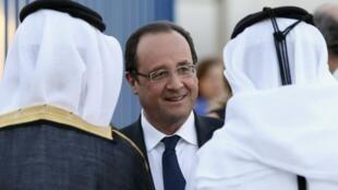 François Hollande em Doha, no Catar.