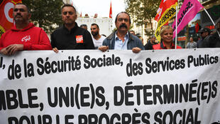CGT leader Philippe Martinez leads Thusday's demonstration in Marseille