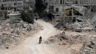 ទិដ្ឋភាពក្រុង Nairab តំបន់ Idlib ភាគខាងជើងស៊ីរី ថ្ងៃទី១៧ មេសា ២០២០