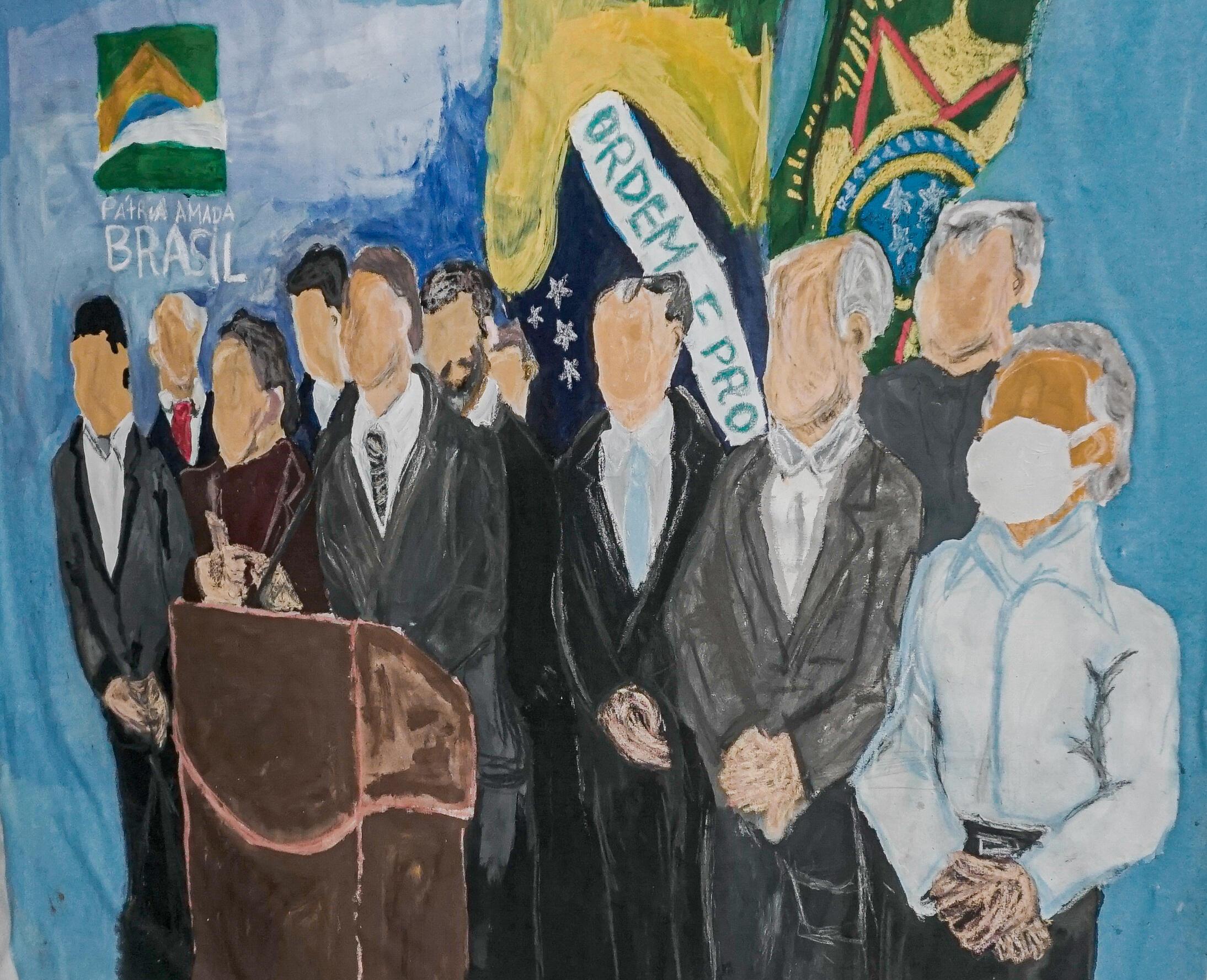 """A obra """"O que é melhor, a gente discutir acordos políticos ou a cor dos políticos"""" é assinada por Elian Almeida, um dos artistas presentes no evento na """"exposição manifesto"""""""