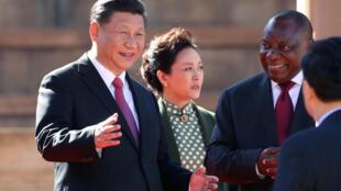 習近平夫婦與南非總統拉馬福薩2018年7月24日Pretoria