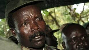 Leader of the LRA Joseph Kony speaks to journalists at Ri-Kwamba in southern Sudan in November 2006