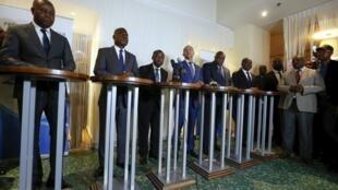 Adolphe Muzito (tout à gauche) avec les autres leaders de la coalition Lamuka lors d'une conférence de presse en mars 2019. (image d'illustration)