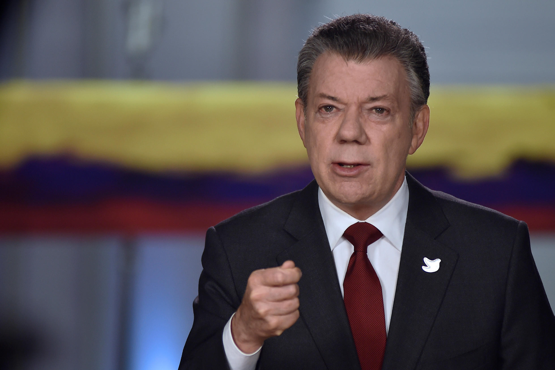 Le président colombien Juan Manuel Santos lors d'une allocution à Bogota, le 22 novembre 2016.