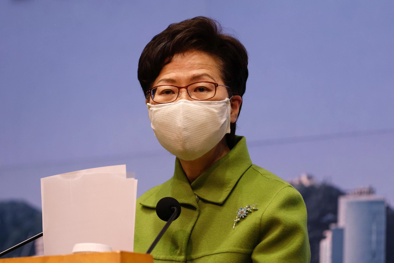 2021年1月26日,香港特首林鄭月娥在每周例行記者會上。