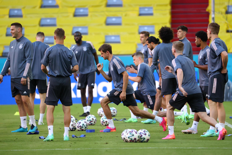 Đội tuyển bóng đá Đức tập luyện trên sân Arena tại Munich ngày 14/06/2021, chuẩn bị cho cuộc thư hùng với đội tuyển Pháp trong giải Euro 2020.