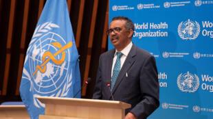 Ông Tedros Adhanom Ghebreyesus, tổng giám đốc Tổ Chức Y Tế Thế Giới (WHO), phát biểu tại cuộc họp đại hội đồng lần thứ 73, Genève, Thụy Sĩ, ngày 18/05/2020.