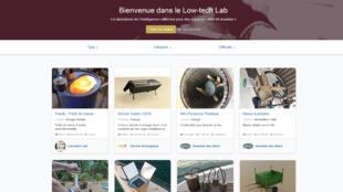 Capture d'écran de la page d'accueil du site lab.lowtechlab.org