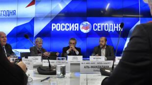 نمایندگان الفتح و حماس در یک کنفرانس خبری در مسکو