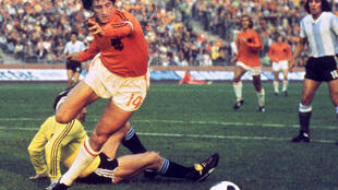 Dutch football legend Johan Cruyff against Argentina, 1974 World Cup