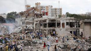 Eneo lilikotokea shambulizi la bomu mjini Mogadishu Somalia  tarehe 14 Oct 2017