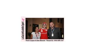 Jules Bianchi ao lado dos pais, em imagem publicada pelo jornal italiano Gazetta dello Sport.