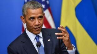 O presidente americano, Barack Obama durante coletiva de imprensa Em Estocolmo, na Suécia, nesta quarta-feira, dia 4 de setembro.