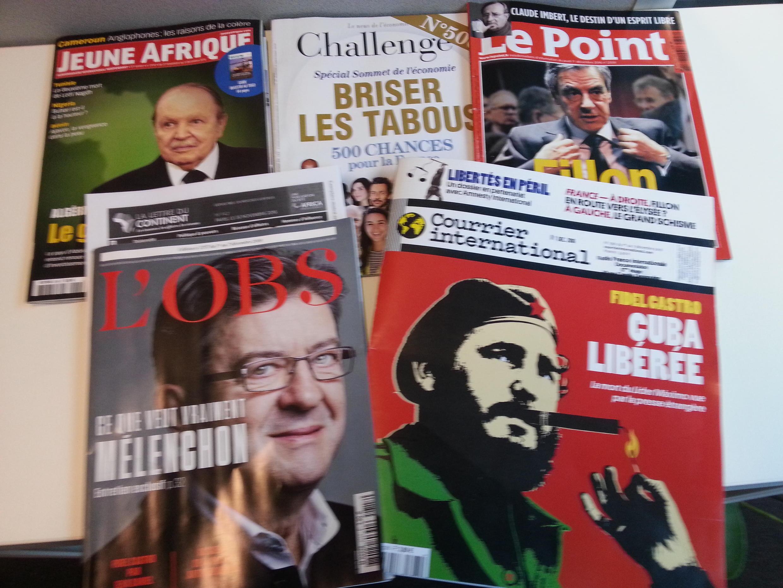 Capas de magazines news franceses de 03 de dezembro de 2016