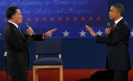 Mitt Romney and Barack Obam face to face during the second TV debate in Hempstead, New York