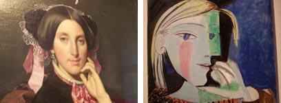 De g. à d. «Portrait de madame Gonse», 1852 (Musée Ingres à Montauban). «Portrait de Marie-Thérèse Walter», 1937 (Musée Picasso à Paris).