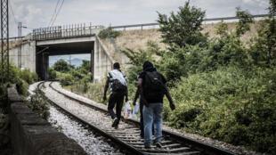 Des réfugiés pakistanais suivent le chemin de fer, au départ de Gevgelija. Macédoine (ARYM).