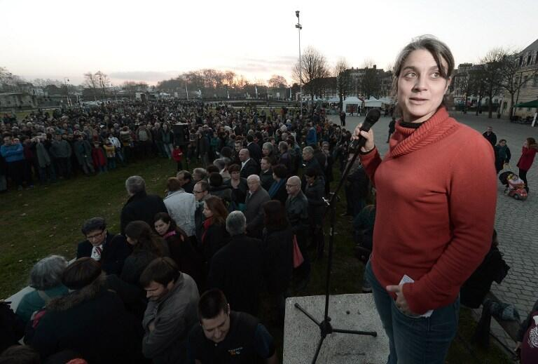 Basque peace activist Anais Funosas at the demonstration in Bayonne on Saturday