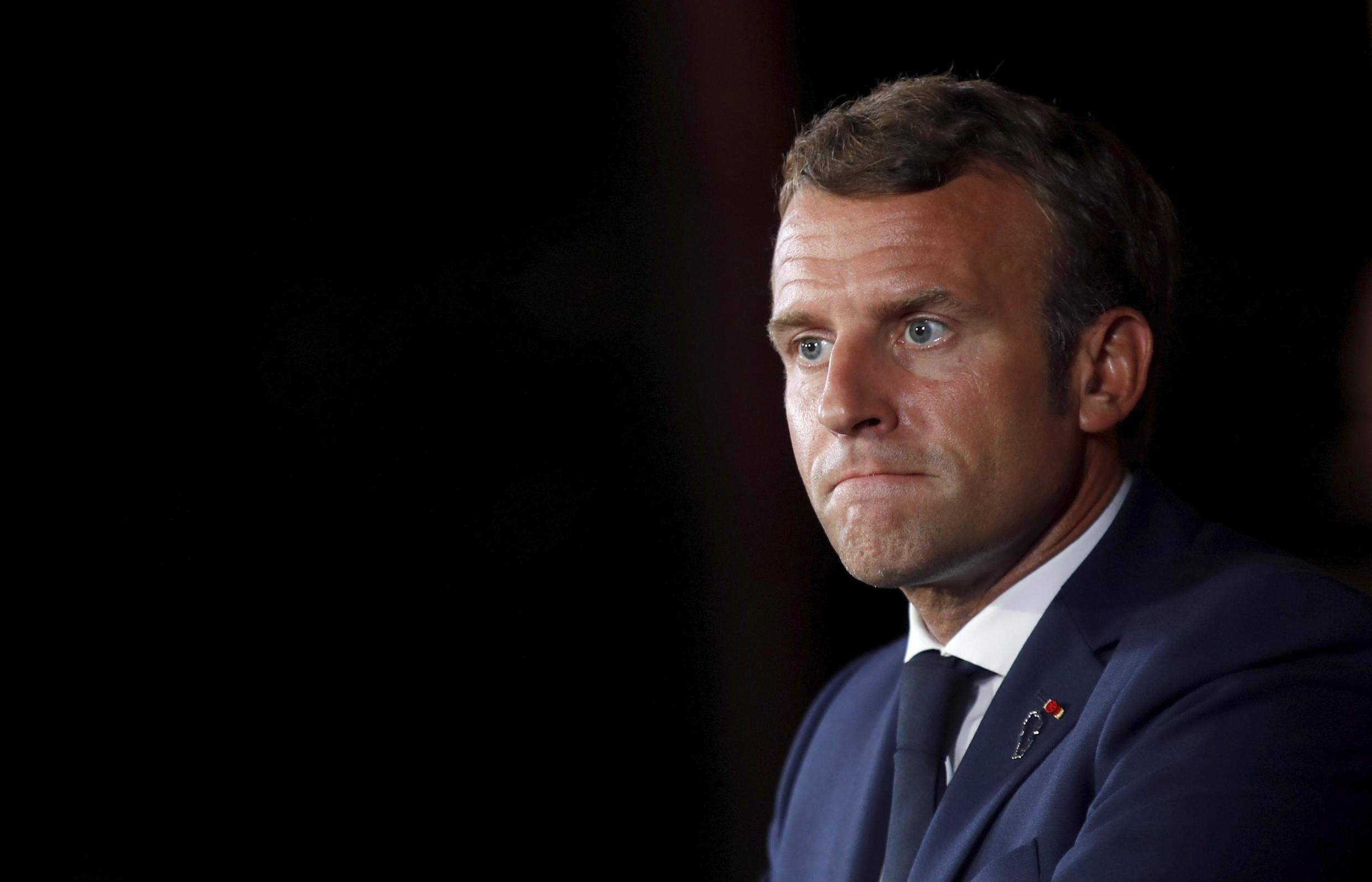French President Emmanuel Macron at a press conference in Beirut, 1 September 2020.