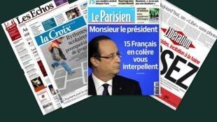 Capa dos jornais franceses Le Parisien, Libération, La Croix, e Les Echos desta quinta-feira, 14 de novembro de 2013