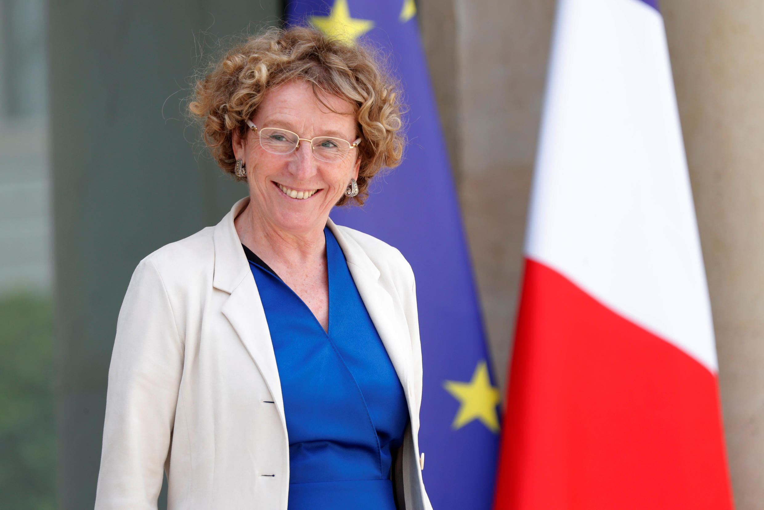 French Labour Minister Muriel Penicaud leaves after the weekly cabinet meeting