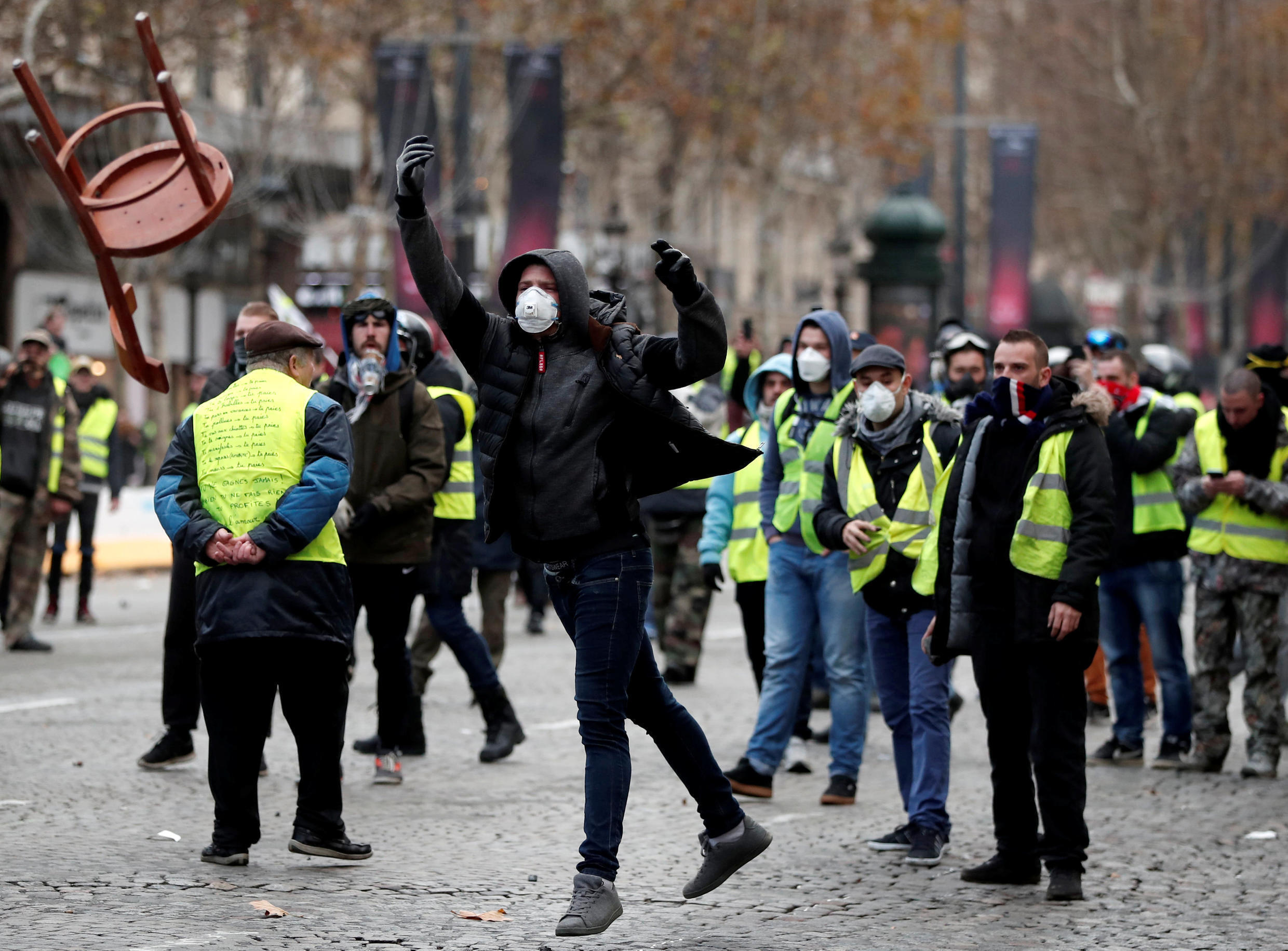 Yellow Vest protesters on the Champs Elysees, Saturday 24 November, 2018