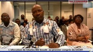 Capture d'écran de l'allocution de Charles Blé Goudé depuis La Haye lors du premier congrès du Cojep, le 18 août 2019.