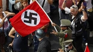 Protestations à Athènes en Grèce contre la visite d'Angela Merkel, le 9 octobre 2012.