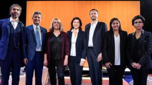 巴黎主要市长候选人,从左到右:独立参选人维拉尼,极右派支持的菲登博赫,极左派的西蒙内,执政党成员布赞,生态绿党候选人贝利亚,现任市长执政党成员伊达尔戈,右派达提。