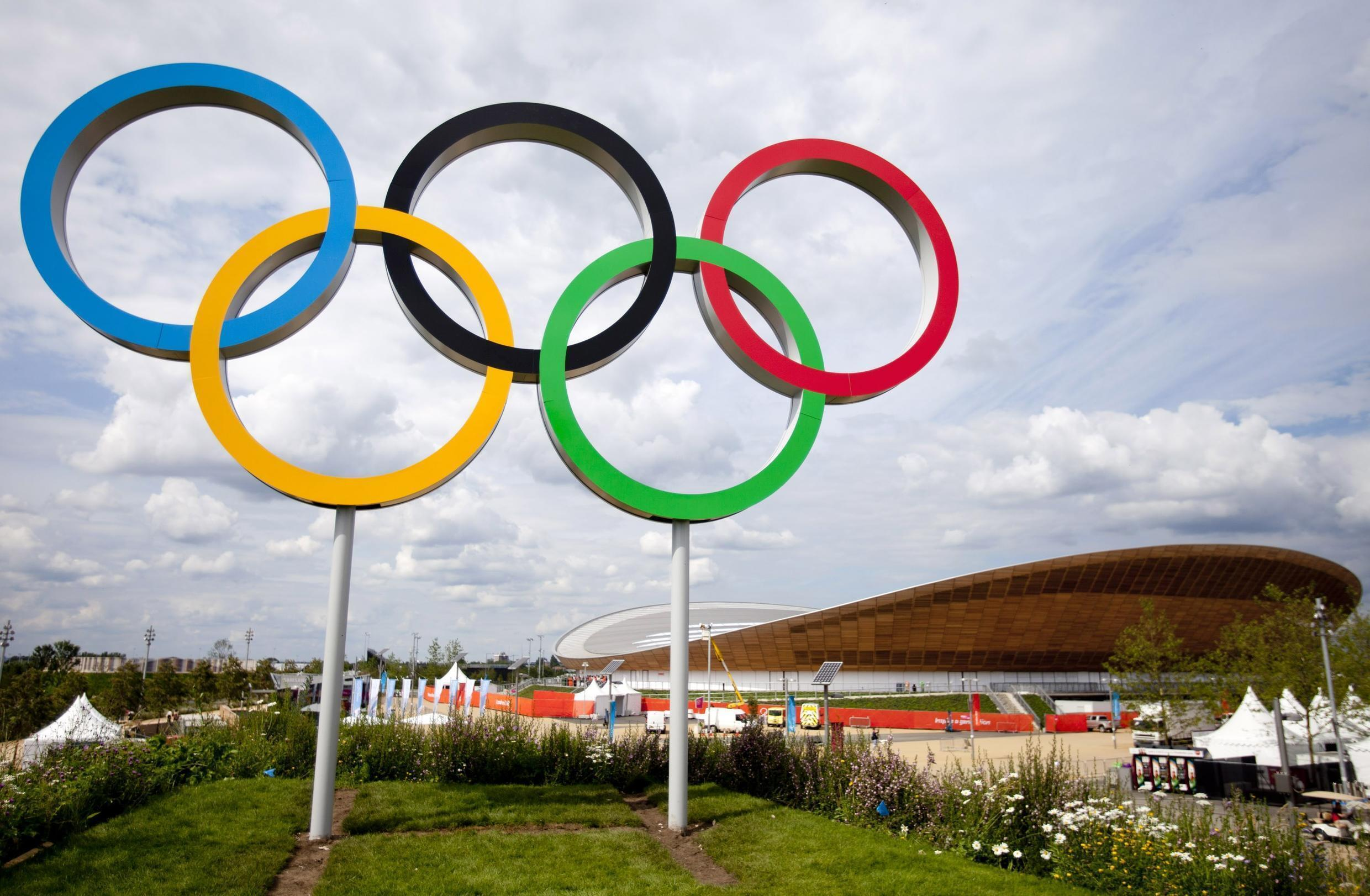 The Olympic rings welcome fans to the London Olympics