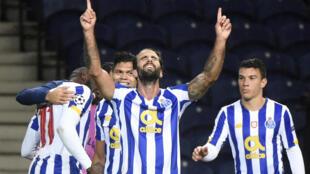 Le milieu de Porto, Sergio Oliveira, buteur lors du  match de groupes de la Ligue des champions à domicile face à l'Olympiakos, le 27 octobre 2020