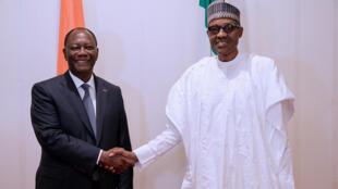 Shugaba Muhammadu Buhari na Najeriya da takwaransa Alassane Ouattara na Ivory Coast