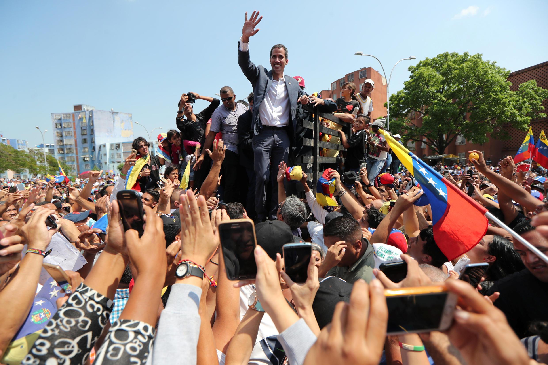 Thủ lãnh đối lập Juan Guaido trong một cuộc biểu tình chống lại ông Nicolas Maduro tại Guacara, 16/03/2019.
