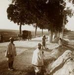 Des Annamites réparant une route en Champagne.
