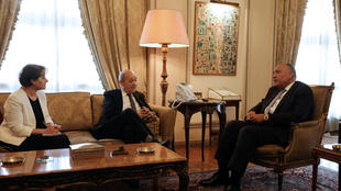 ملاقات ژان ایو لودریان، وزیر امور خارجه فرانسه با همتای مصریاش سامح شکری در قاهره. یکشنبه ٩ اردیبهشت/ ٢٩ آوریل ٢٠۱٨