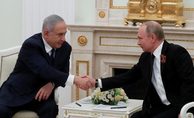 بنیامین نتانیاهو و ولادیمیر پوتین در مسکو نهم ماه مه