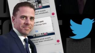 美国民主党总统候选人拜登的次子亨特·拜登与社交媒体推特示意图