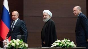 Les présidents russe, iranien et turc à Ankara, le 16 septembre 2019.