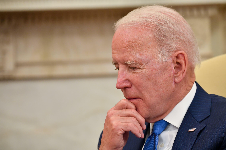 Joe Biden durante una reunión con el presidente afgano Ashraf Ghani en Washington el 25 de junio de 2021