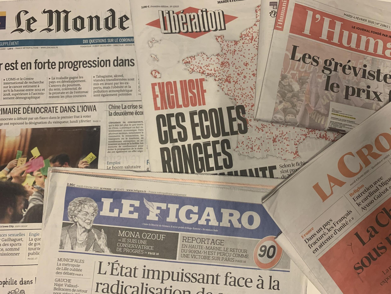 Primeira página dos diários franceses desta terça-feira, 4 de Fevereiro de 2020.