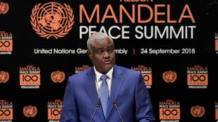 Le président de la Commission de l'UA, Moussa Faki Mahamat, le 24 septembre au sommet Mandela pour la paux, à New York.