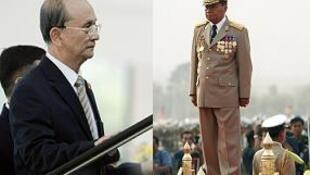 (слева) Премьер-министр Тейн Сейн и глава правящей хунты генералиссимус Тан Шве