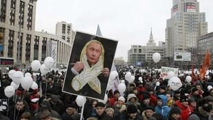 2011年12月24日俄國首都莫斯科,民眾再次舉行示威,抗議選舉舞弊。