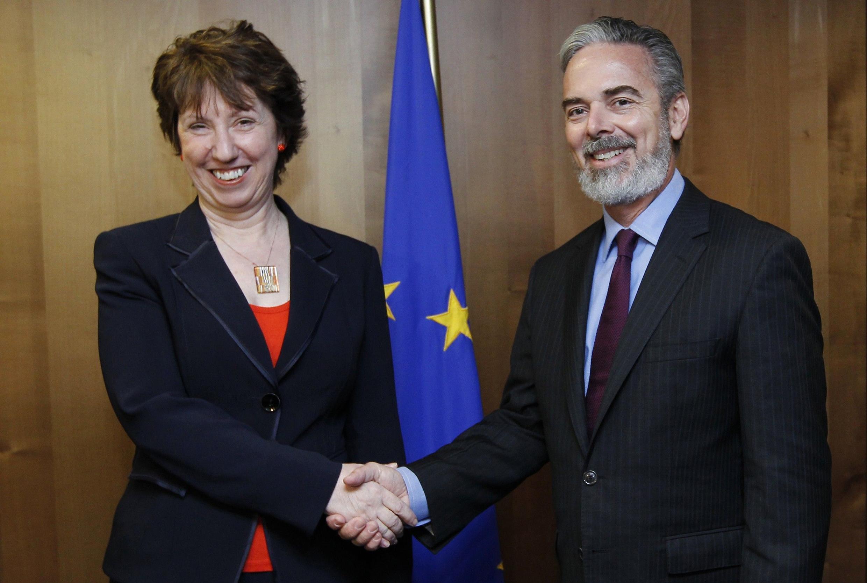A chefe da diplomacia europeia, Catherine Ashton, durante encontro com o chanceler brasileiro Antonio Patriota, em Bruxelas.