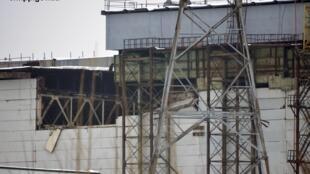 Une partie du toit de la centrale nucléaire de Tchernobyl s'est effondrée le 13 février 2013, en Ukraine.