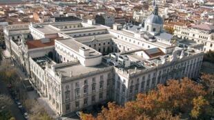 Vue aérienne de la Cour suprême d'Espagne à Madrid. Le procès de douze leaders indépendantistes catalans y aura lieu ce mardi 12 février 2019.
