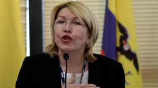Mwanasheria mkuu wa zamani wa Venezuelan Luisa Ortega katika mkutano wa Mercosur Brasilia tarehe 23 Agosti 2017.