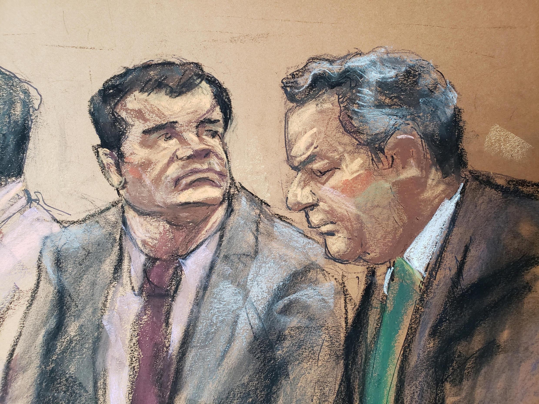 Joaquín Guzmán (à gauche) et son avocat Jeffrey Lichtman, représentés sur ce dessin lors de l'audience du 19 novembre 2018 à New York.