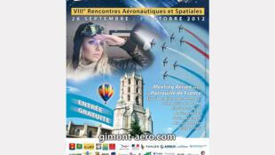 L'affiche des VIIIe Rencontres aéronautiques et spatiales à Gimont, dans le Gers (France).